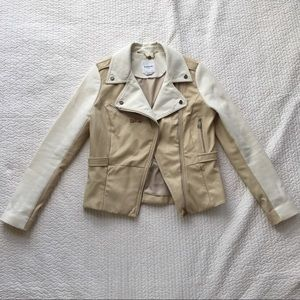 Bebe Cream/Tan Moto Jacket